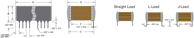 High Temperature Stacked Capacitors Mechanical Schematic