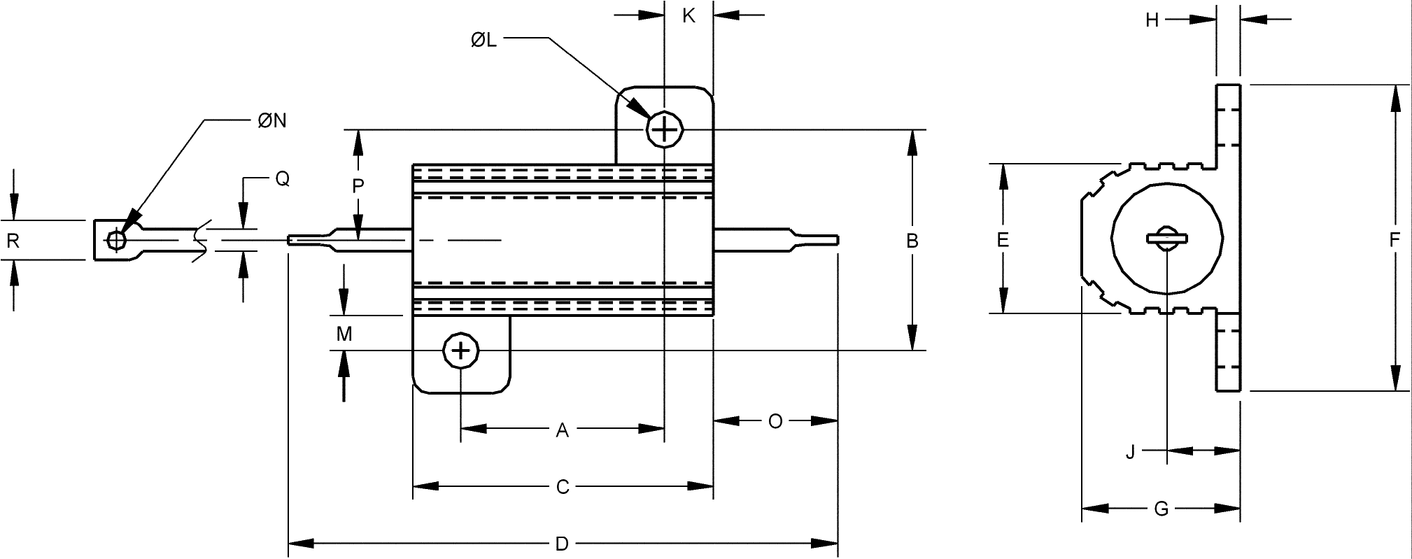 Chassis mount resistor Mechanical Characteristics and Dimensions