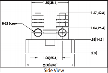 Size 2013 - DC Current Shunts Side View