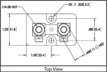 Size 2013 - DC Current Shunts Top View