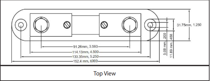 Size 6013 - DC Ammeter Shunts Top View