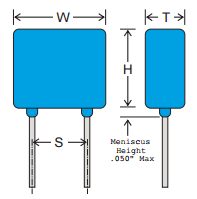 Commercial Switch-Mode Radial Leaded Capacitors Diagram